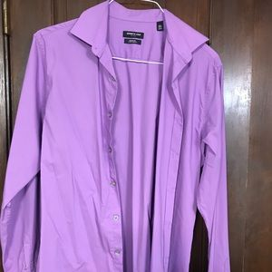 Kenneth Cole Dress Shirt: Purple/ Slim 15.5/34/35